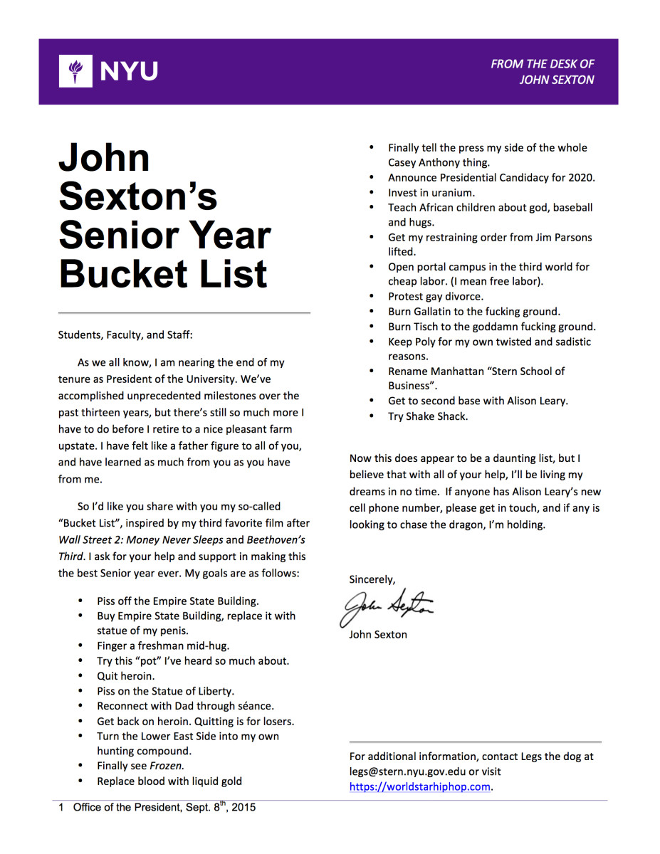 Washington Square Local  Page   Nyus Only News Source That  John Sextons Senior Year Bucket List